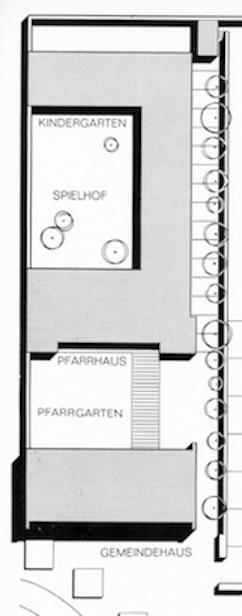 Der Lageplan der Pfarreigebäude